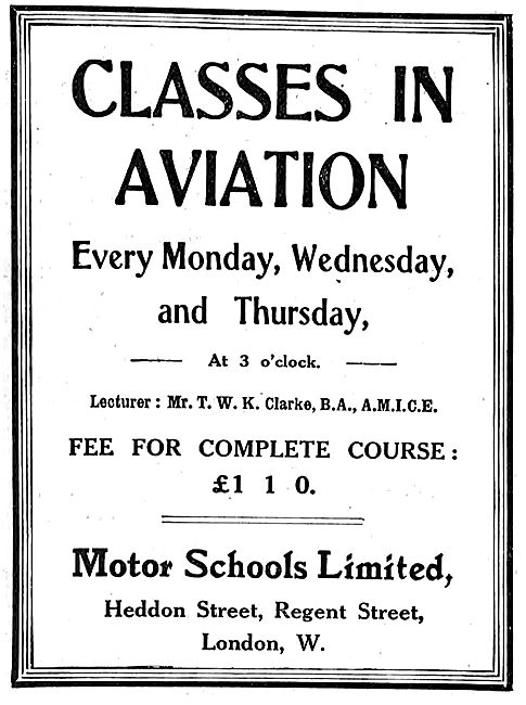 Motor Schools Ltd Classes In Aviation - Lecturer TWK Clarke