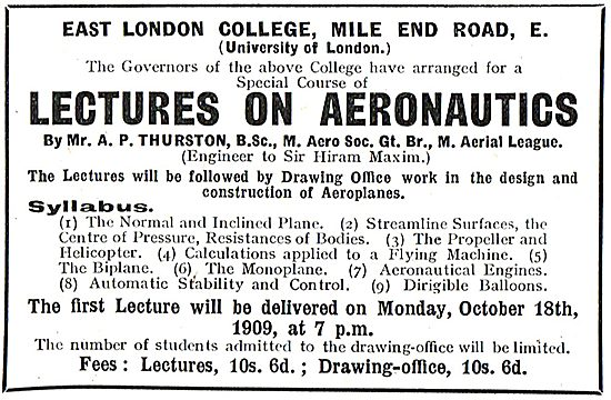 East London College Mile End Rd - Lectures On Aeronautics