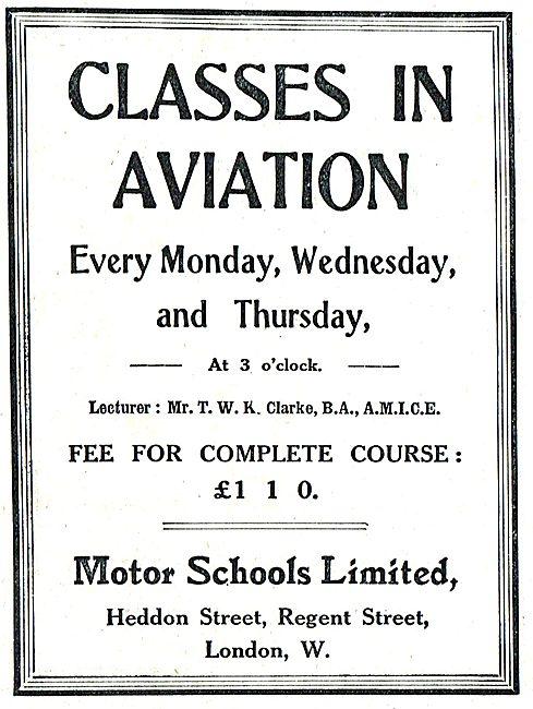 Motor Schools Ltd Classes In Aviation. T.W.K. Clarke Lecturer