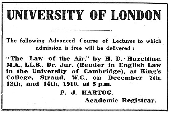 University Of London - Law Of The Air. Lecturer H.D.Hazeltine