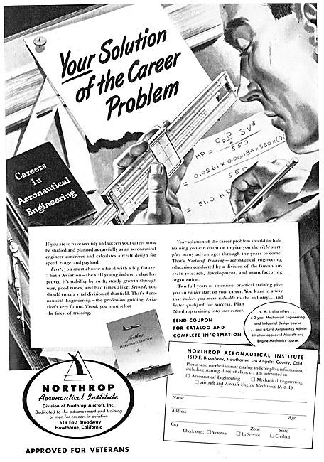 Northrop Aeronautical Institute 1948 Advert