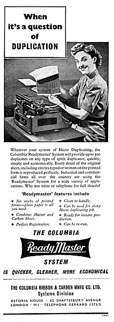 Columbia Readymaster Duplicating Machines