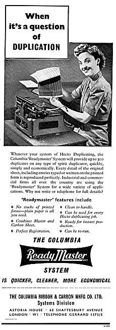 Columbia Ribbon Readymaster Hecto Duplicating Machine