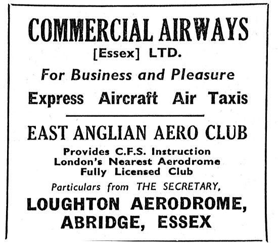 Commercial Airways. East Anglian Aero Club. Loughton Abridge 1933