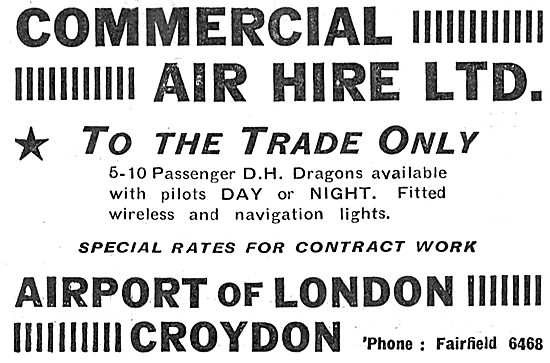 Commercial Air Hire Croydon - D.H.Dragon Aircraft Trade Only