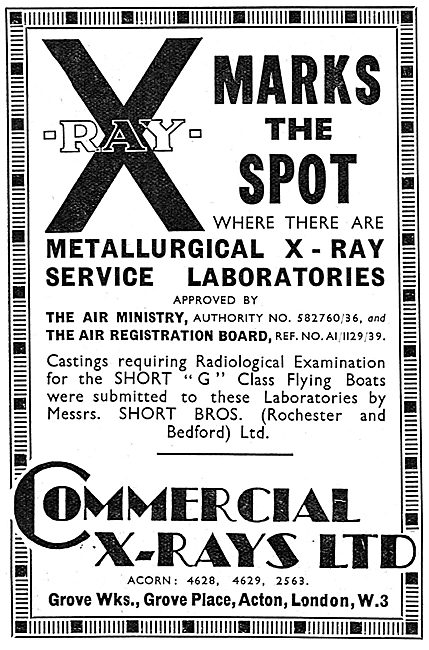 Commercial X-Rays. Metallurgical X-Ray Laboratories NDT 1939