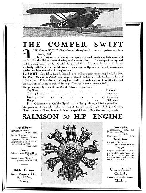Comper Swift - 50 HP Salmson Engine - G-AAZC
