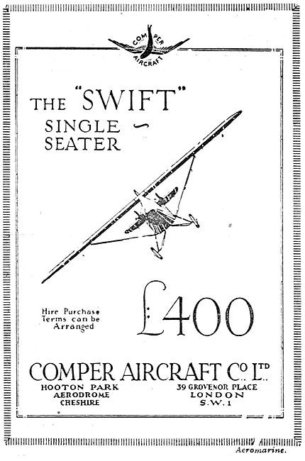 Comper Swift Single Seater Aircraft. £400.00