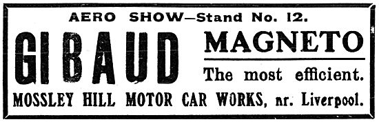 Mossley Hill Motor Car Works. Gibaud Magneto