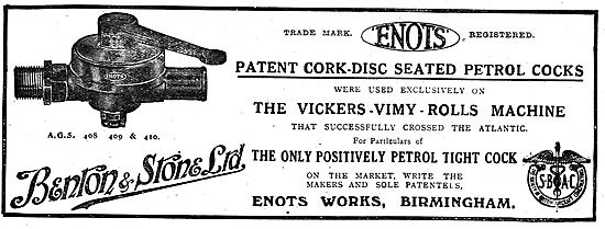 Benton & Stone Ltd Patent Cork-Disc Seated Petrol Cocks