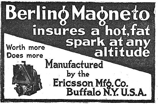 Berling Aero Engine Magnetos - Ericsson Mfg Co. Buffalo NY USA