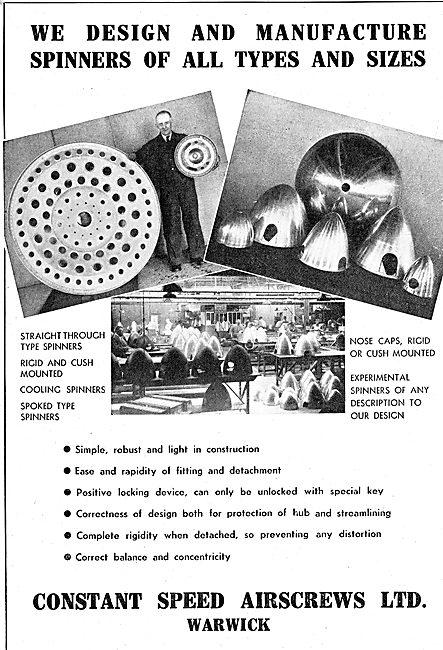 Constant Speed Airscrews. Warwick : Propeller Spinners