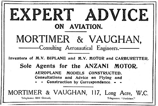 Mortimer & Vaughan - Inventors Of The MV Biplane, Motor & Carb'