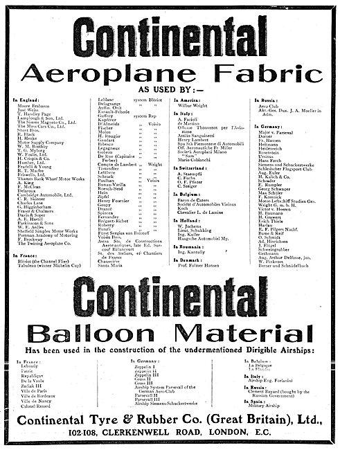 Continental Tyres, Aeroplane & Balloon Fabrics
