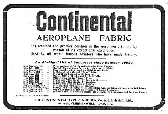 Continental  Aeroplane Fabric Successes To Date
