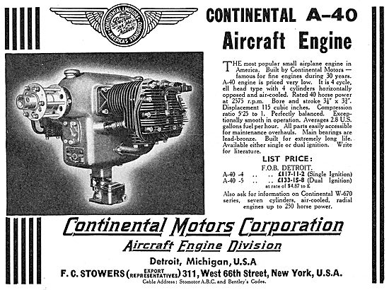 Continental Motors A-40 Aero Engine