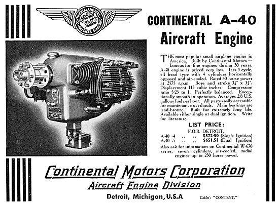 Continental A-40 Aircraft Engine