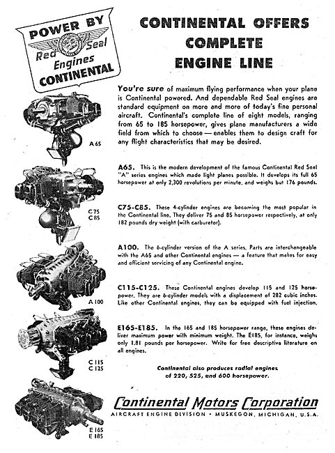 Continental Motors Aero Engine Range