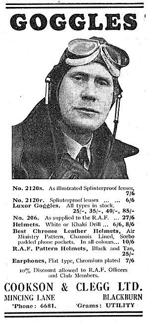 Cookson & Clegg Flying Goggles & Flying Kit.