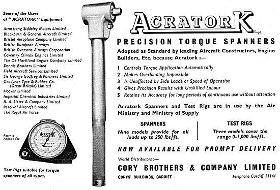 Cory Brothers Acratork Torque Wrenches