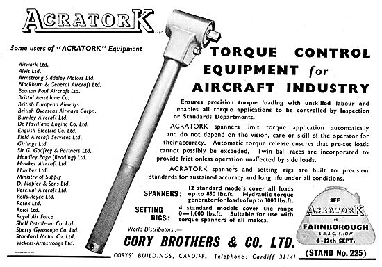 Cory Brothers Acratork Torque Control Tools For Aircraft Industry