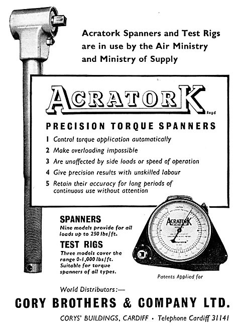 Cory Brothers Acratork Torque Spanners, Wrnches & Test Rigs