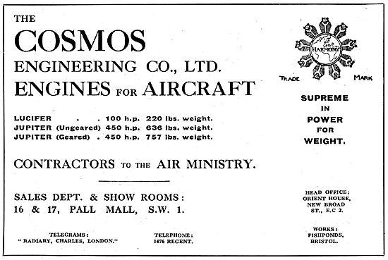 The Cosmos Engineering Co. Bristol. Aero Engine Manufacturers