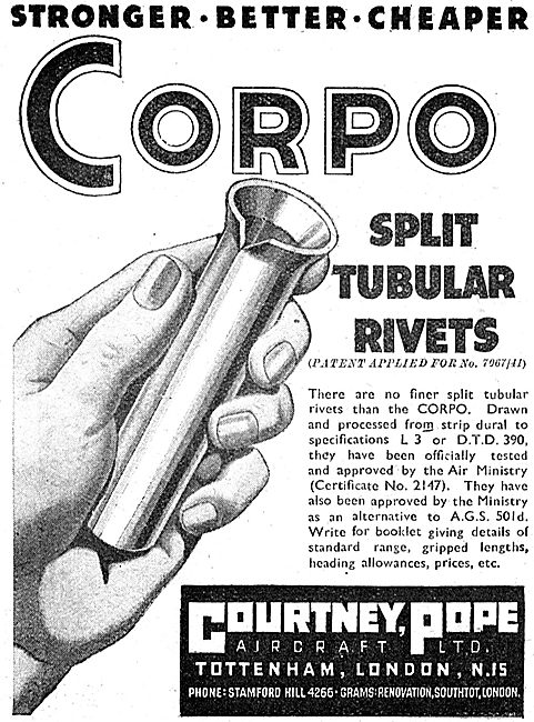 Courtney Pope Aircraft - Corpo Split Tubular Rivets 1942 Advert