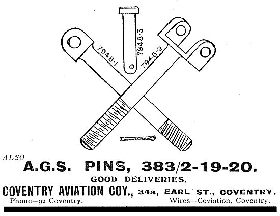 Coventry Aviation Company. Earl St, Coventry. AGS Parts