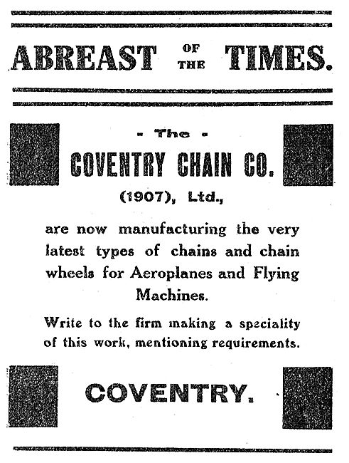 The Coventry Chain Co For Aeroplane Chains & Chain Wheels