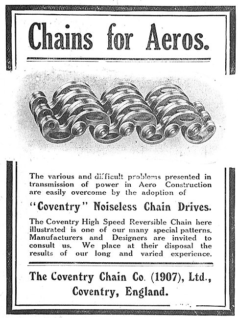 Coventry Noiseless Chain Drives For Aeroplanes