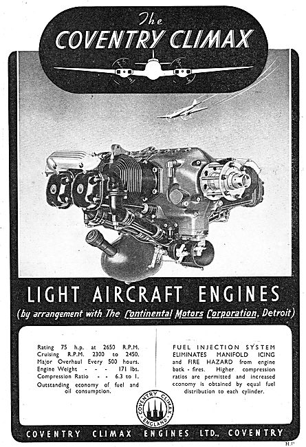Coventry Climax Light Aircraft Engines. Continental Motors