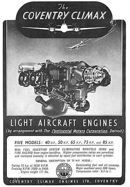 Coventry Climax Continental Motors Aero Engines 1941