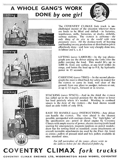Coventry Climax Fork Lift Trucks 1946