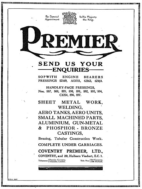 Coventry Premier Ltd. Aeronautical Component Manufacturers