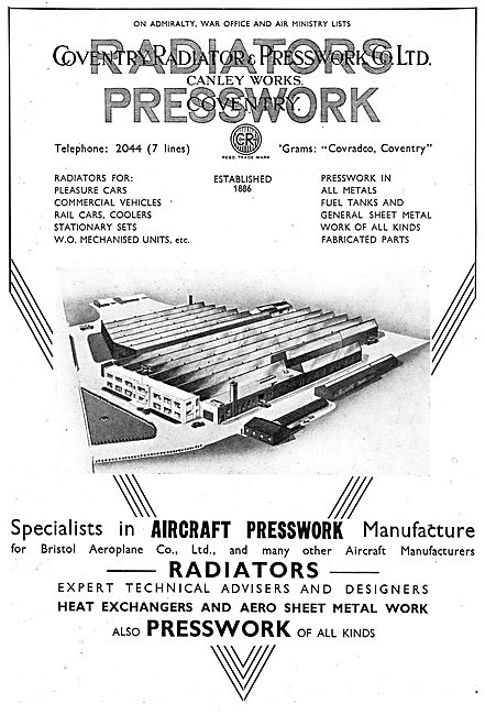 Coventry Radiator & Pressworks. Radiators For Aircraft