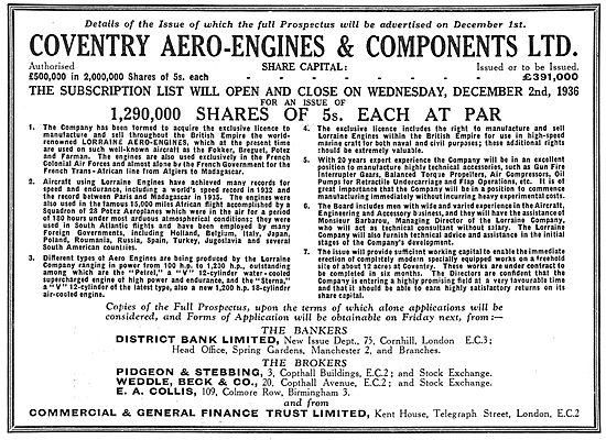 Coventry Aero-Engines & Components Ltd, Shares Issue