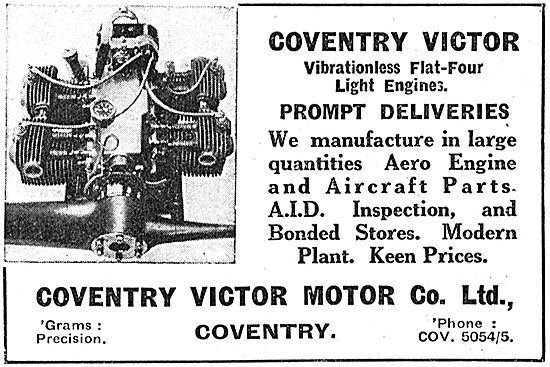 Coventry Victor Flat Four Light Aircraft Aero Engines