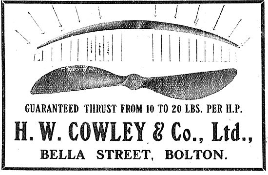 H.W.Cowley & Co Aeroplane Engines. 10-20 Lbs Per HP