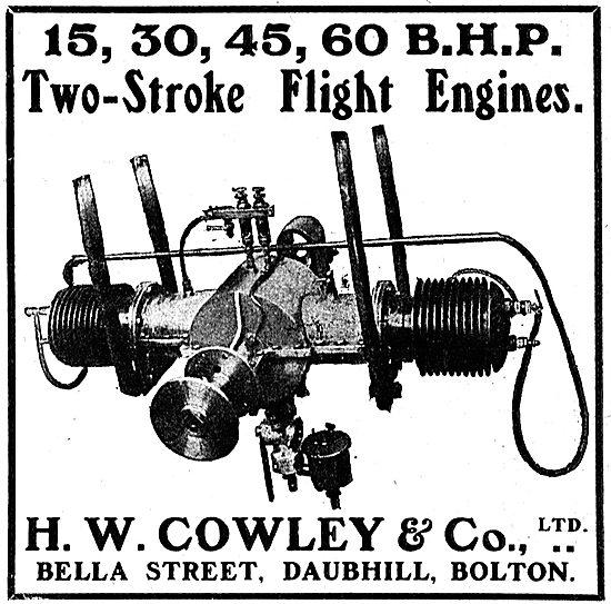 H.W.Cowley Bella St Daubhill Bolton. Two Stroke Flight Engines