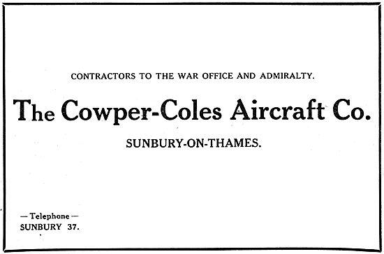 Cowper-Coles Aircraft. Sunbury-On-Thames