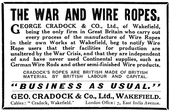 George Cradock & Co. Wakefield - Wire Ropes : Aircraft Rigging