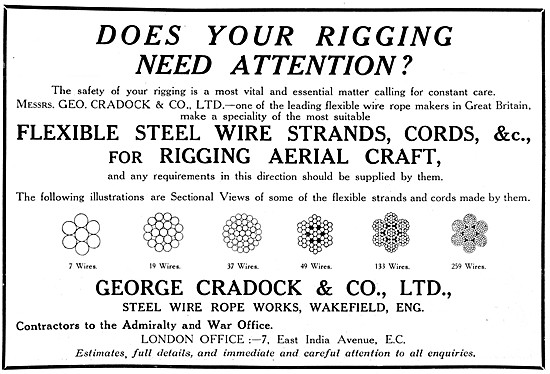 George Cradock Steel Wire & Ropes. Rigging Wires 1915