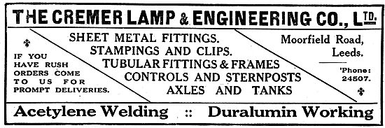 The Cremer Lamp & Engineering Company. Aircraft Components