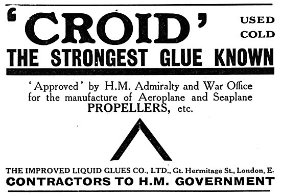 Croid Glues For Aeroplane Constructors