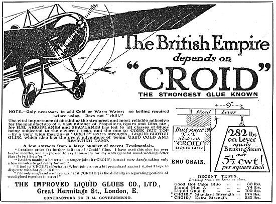 The British Empire Depends Croid Aeroplane Glues