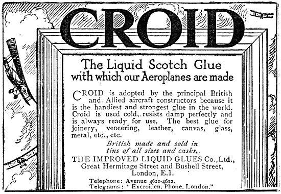 Croid Liquid Scotch Glues For Aeroplanes - 1919 nAdvert