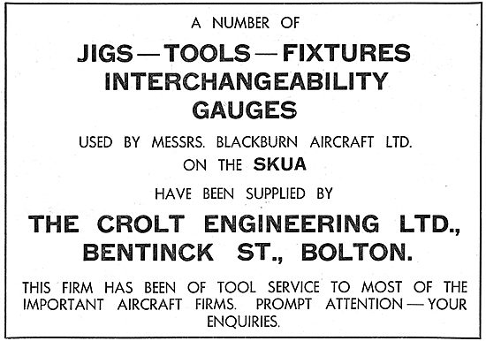Crolt Engineering. Bolton - Jigs, Tools & Fixtures. 1939