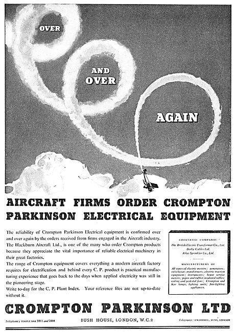 Crompton Parkinson Electrical Equipment For Aircraft