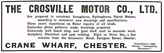 The Crossville Motor Co Chester: Aeroplanes & Engines Constructed